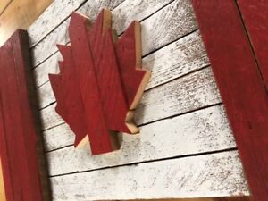 Handcrafted Rustic Wooden Canadian Flags