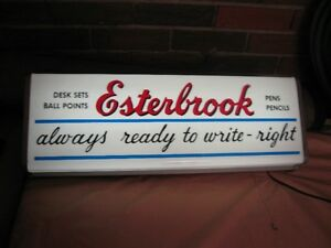 ESTERBROOK LIGHT UP SIGN FOR PENS WORKS GREAT