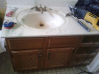 Wood Bathroom Vanity with Marble Counter & Sink & Brass Facet