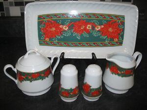 "KOPIN FINE CHINA CHRISTMAS ""Heritage Holiday Holly Berry"" SET"