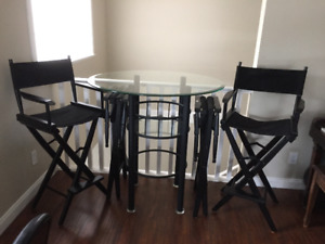 """42"""" Beveled Glass Bistro Table 42"""" high with 4 Director Chairs B"""