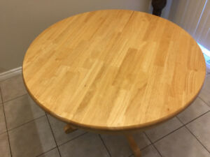 Wooden kitchen / dining table and matching 3 chairs