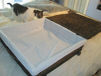 Large Under-The-Bed Wicker Storage Box with Wheels