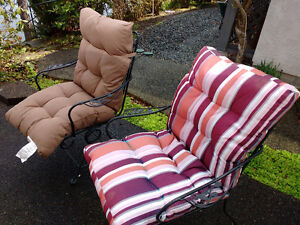 PATIO CHAIRS, CUSHIONS AND TABLES