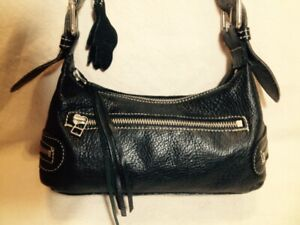 Very Small Authentic Roots Black Leather Shoulder Bag