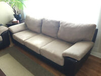 Micro suede & leather couch and love seat set in EXCELLENT shape