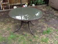 Garden table, glass top