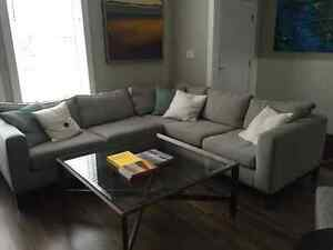 American Leather Sectional in Titan Putty