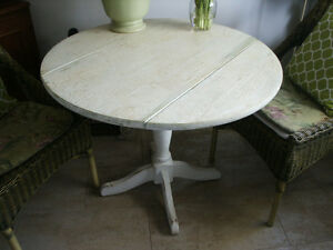Rustic Crackle Finished Solid Wood Drop Leaf Table