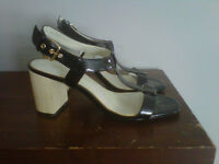 Size 6.5 Vera Wang patent leather shoes, wooden heel