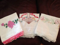 hand-embroidered pillowcases
