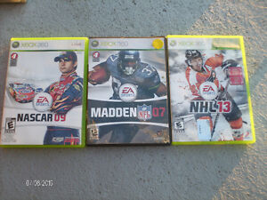 JEUX XBOX 360 :11  NHL13, MADDEN07,ASSASSINS CREEDII, etc.