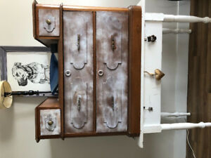 Sturdy wooden Dresser With white powder paint