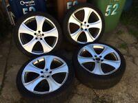 Genuine 18' Kahn alloys with good tyres 5x100 golf Audi a1