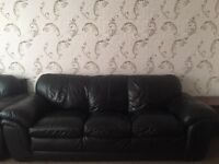 Set of 3 sofa and armchairs set (black faux leather)