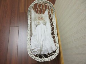 DREAM BABY DOLL AND WICKER CRADLE