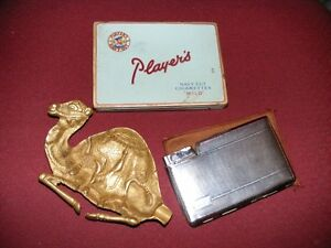 BRASS ASHTRAY & PLAYERS TIN & CIGARETTE CASE-1 LOT