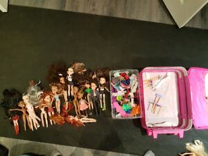 Bratz & Barbie dolls and accessories, car and case