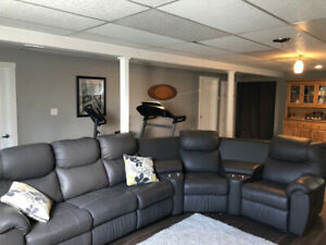 Perfect Leather Sectional for Watching the Playoffs  -Reduced