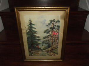 Antique Original Watercolor 1954