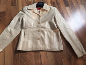 Cole Haan butter yellow tan bone beige leather jacket size xs
