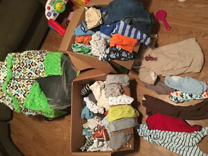 Baby boy clothes and car seat cover