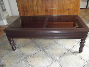 Wood coffee table, glass top - GOOD CONDITION! NEED TO SELL ASAP