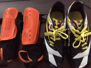 DIODORA soccer shoes size 3 and shin guards size small
