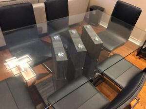 Glass Table And 6 Chairs Ronin 7 Piece Dining Room Set Leons