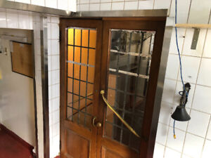 Antique brass French door set