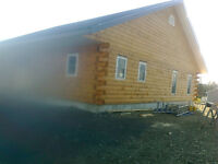 LOG House on land for sale (logs were treated)