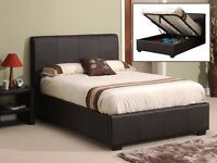 SAME DAY FAST DELIVERY: DOUBLE OTTOMAN GAS LIFT UP LEATHER STORAGE BED WITH MEMORY FOAM MATTRESS