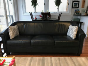 Leather furniture - couch and three chairs - black