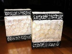 Real Shaved Pearl Lamps Rectangle x2 37Hx31W x 14cm deep Southport Gold Coast City Preview