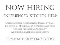 BANQUET HALL NOW HIRING