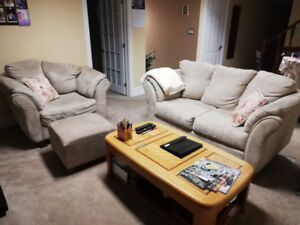 Beige Couch, Chair and Ottoman for sale