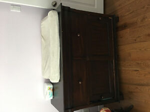 Dark wood change table/ dresser