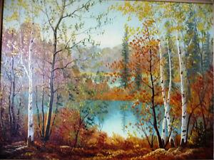 "Muskoka Oil Painting by Erkki Jalava ""Tranquil Fall Study"" 1950 Stratford Kitchener Area image 2"