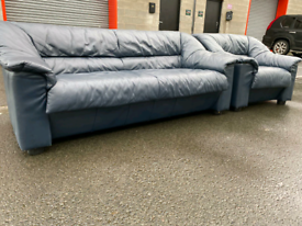 Navy Blue Leather 3 Seater Sofa and Chair