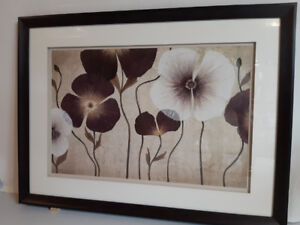 Framed picture – double mat - with flowers