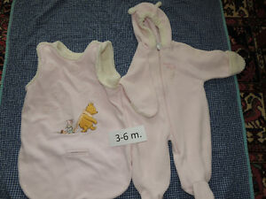 Winter bunting suits in several sizes, exc. condition