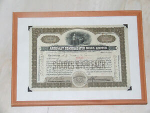 Framed stock certificate, Argonaut Consolidated Mines -- 1928
