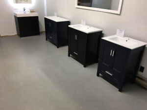 "Navy Blue & Espresso Wood Vanity (24"",30"",36"")"