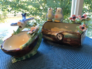 2 Vintage Italian Hand Modeled Bone China Birds on Log & Bath