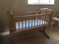 Mothercare swinging crib, mattress and sheets never used