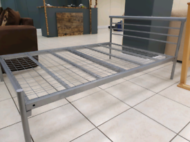 Double silver metal bed frame