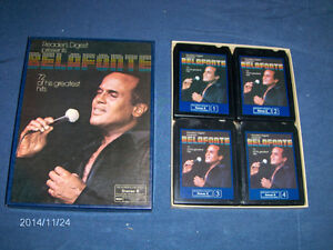 HARRY BELAFONTE-8 TRACK CASSETTES BOXED SET OF 4-READERS DIGEST