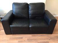 Small black sofa leather/leatherette/faux leather