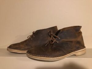 CLARK'S Men's Beeswax Leather Casual Desert Boots - Size 10.5