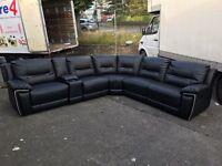 Harvey's Reid hedgmoor Big Black Recliner Corner Sofa leather cup holder storage 6-7 seater
